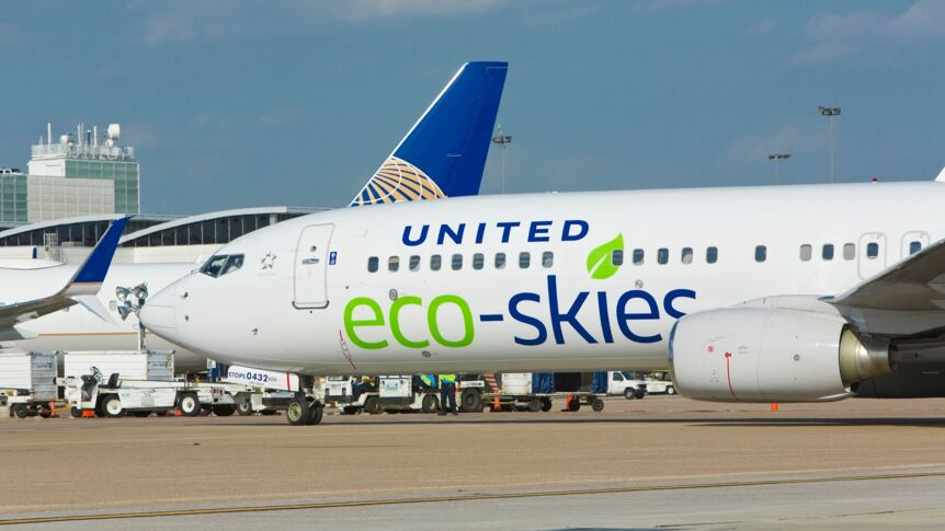 Ein Eco-Skies-Flieger von United Airlines.
