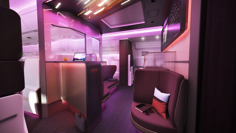 "Der ""Atlantic Upper Class Loft"" von Virgin Atlantic Airways.n"